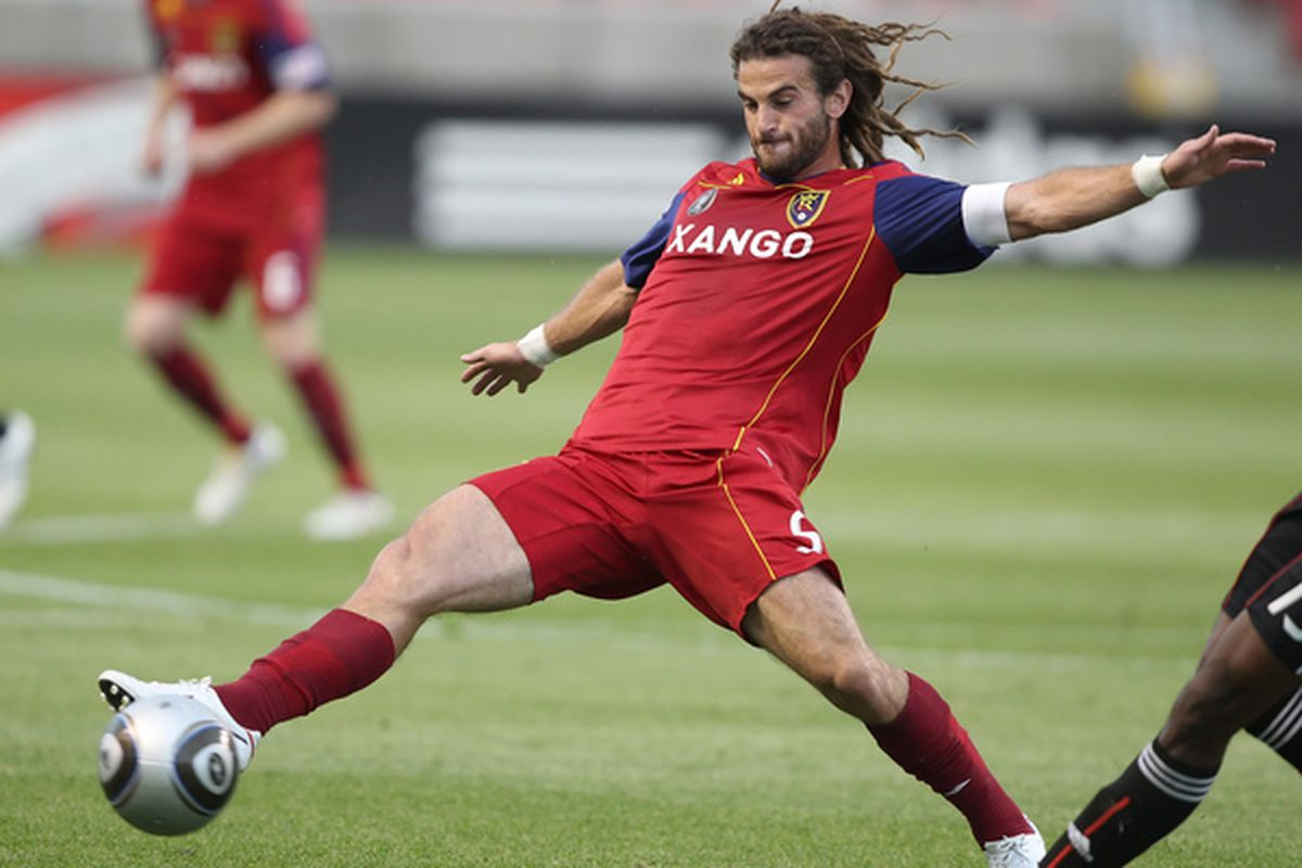 SANDY UT - JULY 31: Kyle Beckerman #5 of Real Salt Lake kicks the ball during a game against DC United on July 31 2010 at Rio Tinto Stadium in Sandy Utah. Real Salt Lake beat DC United 3-0. (Photo by George Frey/Getty Images)