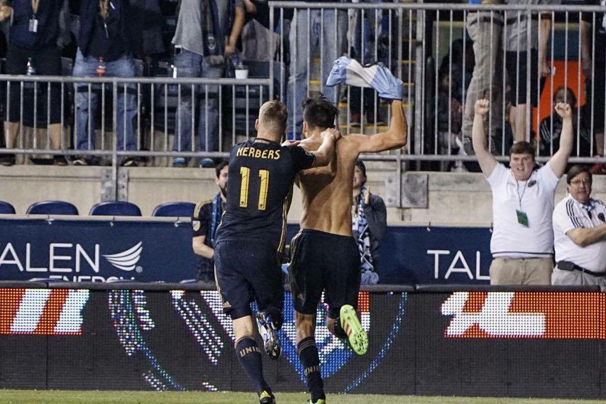 The Philadelphia Union's Richie Marquez celebrates his game winning goal against D.C. United.