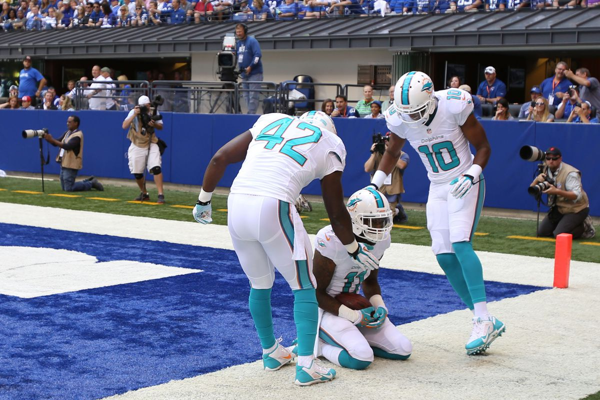 Mike Wallace celebrates after his first touchdown catch as a Miami Dolphin.