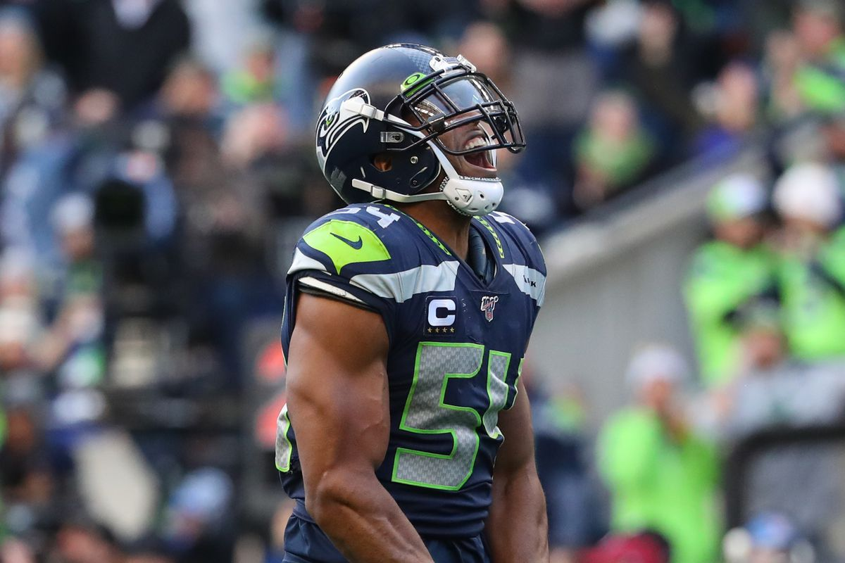 Bobby Wagner of the Seattle Seahawks celebrates after sacking Jameis Winston of the Tampa Bay Buccaneers in the fourth quarter during their game at CenturyLink Field on November 03, 2019 in Seattle, Washington.