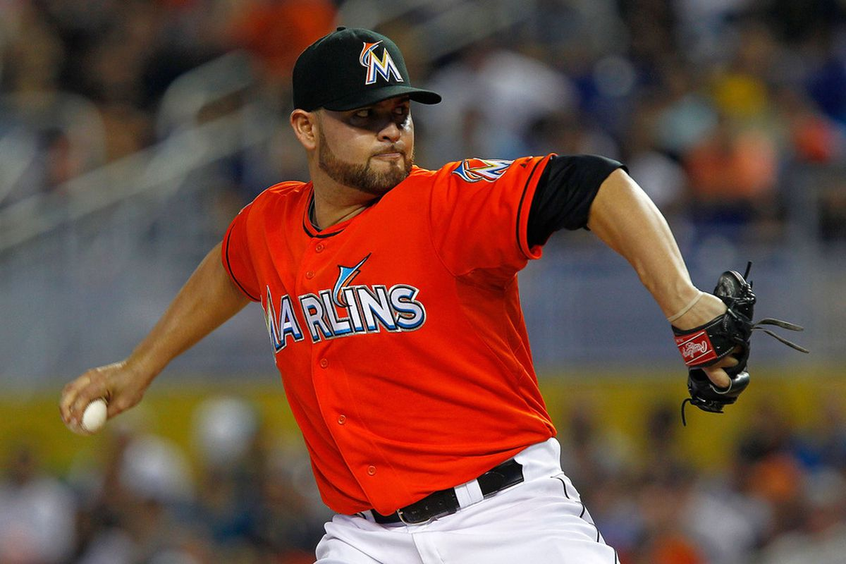 MIAMI, FL - MAY 27:  Ricky Nolasco #47 of the Miami Marlins pitches during a game against the San Francisco Giants at Marlins Park on May 27, 2012 in Miami, Florida.  (Photo by Mike Ehrmann/Getty Images)