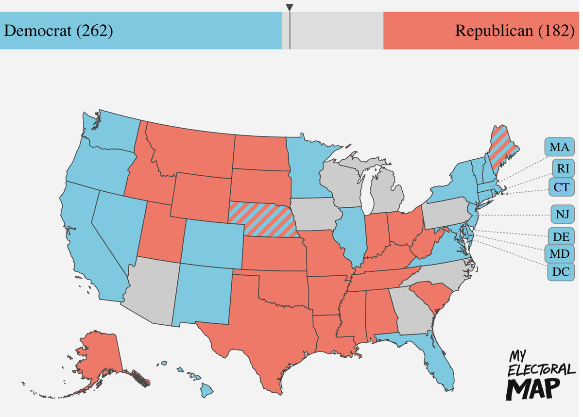 Electoral map showing 262 votes for Biden and 182 for Trump, with PA, MI, WI, IA, AZ, NC, and GA undecided.