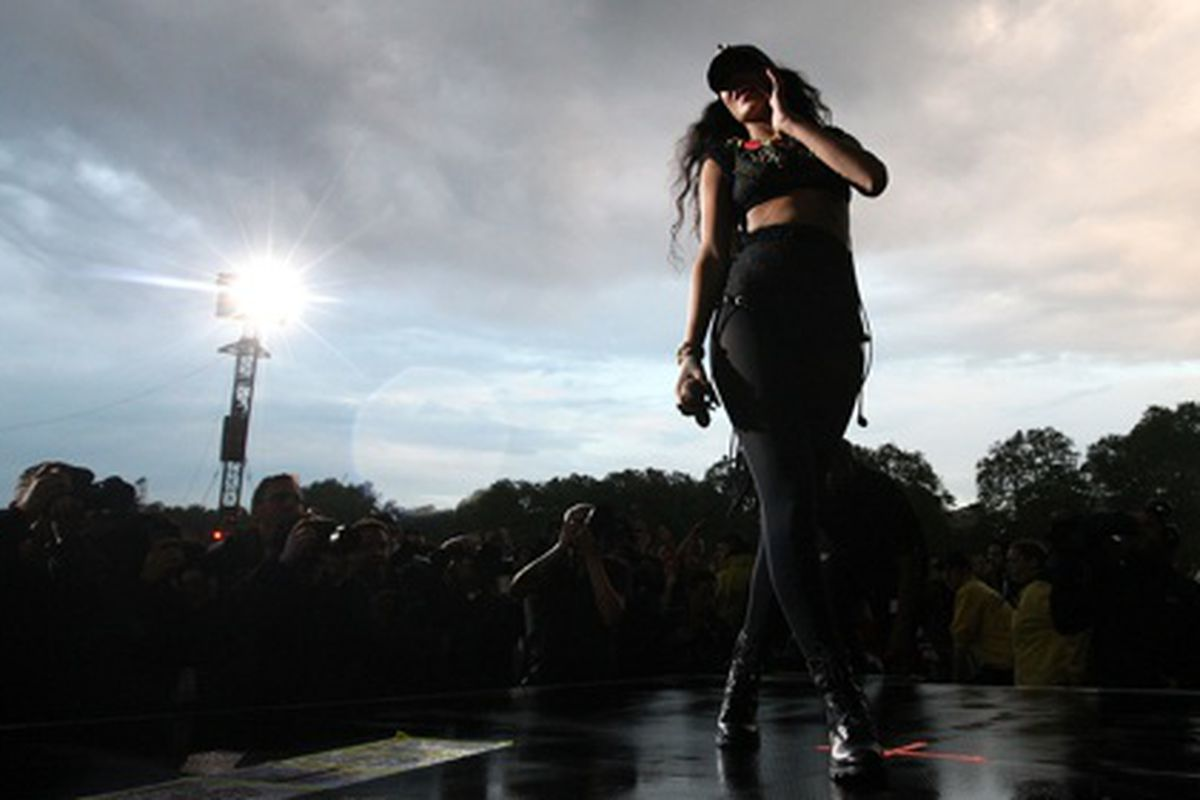 Rihanna performing for the Brits at the Wireless Festival, via Getty