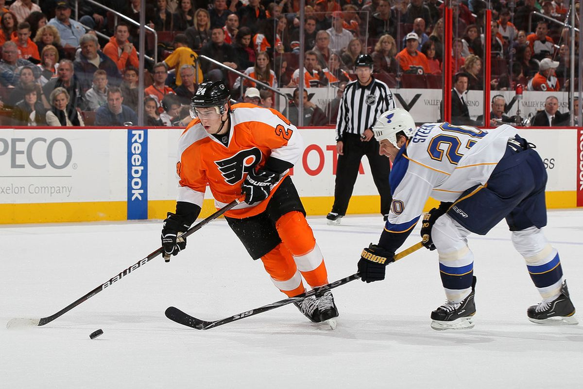 PHILADELPHIA, PA - OCTOBER 22:  Matt Read #24 of the Philadelphia Flyers plays the puck against Alexander Steen #20 of the St. Louis Blues on October 22, 2011 at Wells Fargo Center in Philadelphia, Pennsylvania.  (Photo by Jim McIsaac/Getty Images)