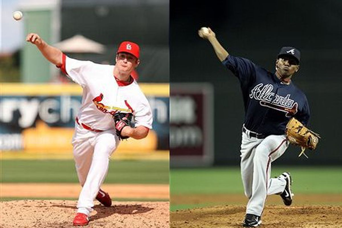 St. Louis Cardinals right-hander Shelby Miller and Atlanta Braves right-hander Julio Teheran (Photos by Doug Benc [Miller] and Christian Petersen [Teheran], courtesy Getty Images)