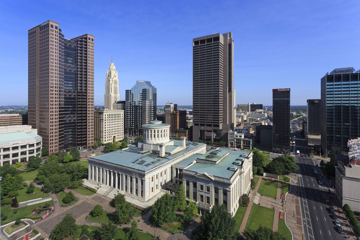 Aerial of Capitol Building, Downtown Columbus, Ohio, USA