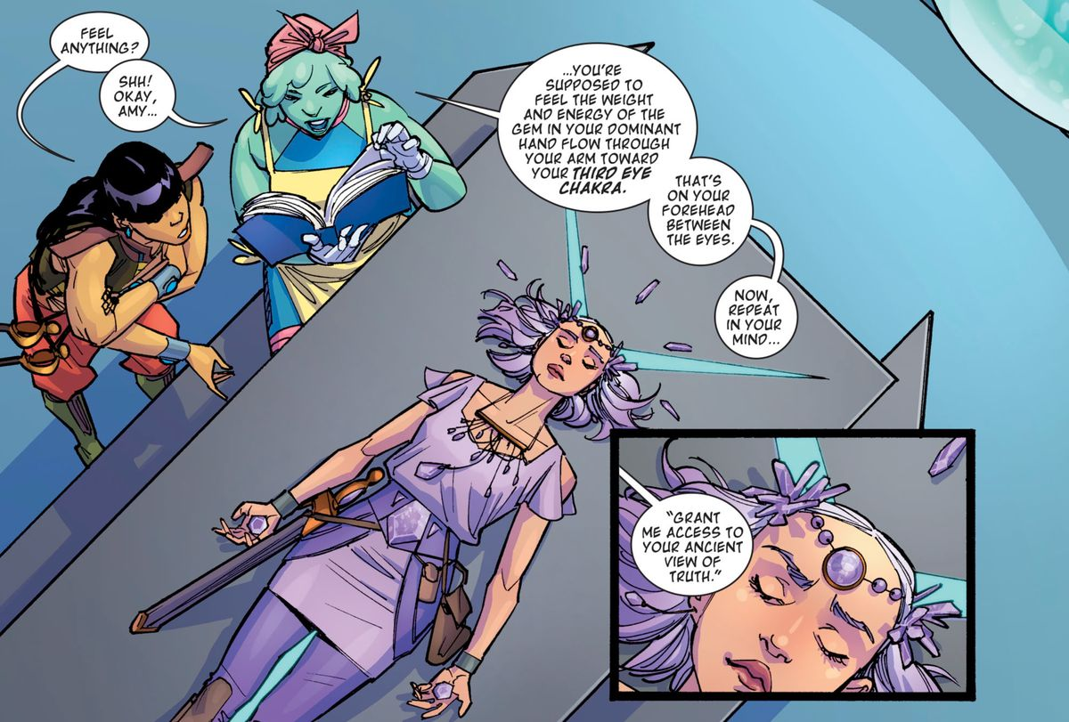 Amethyst's friends guide her through opening her third eye with a crystal healing book from Earth, in Amethyst #2, DC Comics (2020).