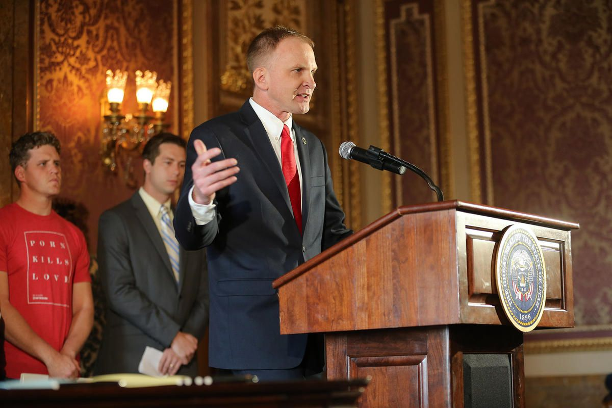 """FILE""""""""Representative Craig Hall speaks as he joins Utah Governor Gary R. Herbert for the signing of SCR9, declaring pornography a public health crisis, inside the Gold room of the state Capitol in Salt Lake City Tuesday, April 19, 2016. Hall is hopi"""
