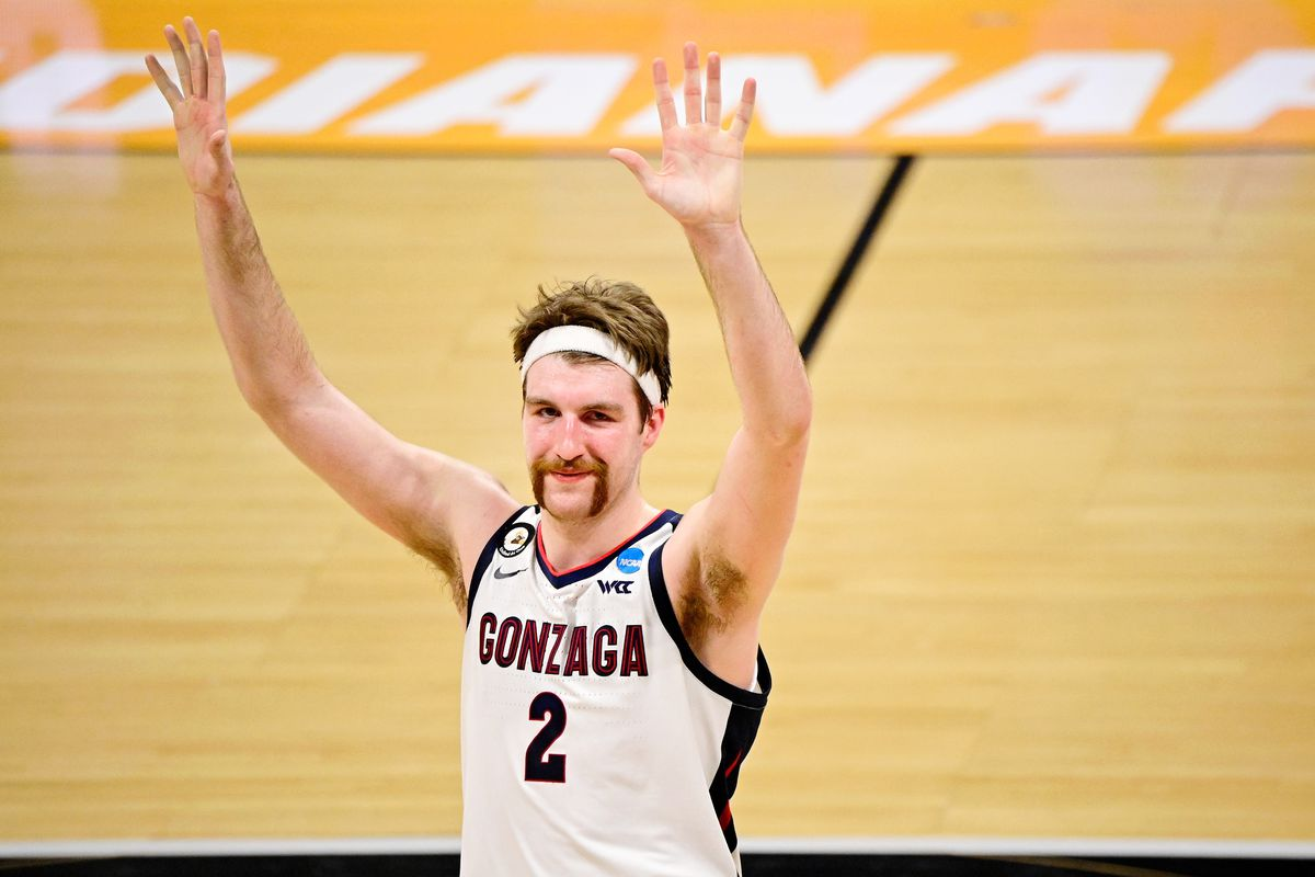 Gonzaga Bulldogs forward Drew Timme acknowledges the crowd after their win over the Oklahoma Sooners in the second round of the 2021 NCAA Tournament at Hinkle Fieldhouse.