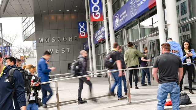 Game developers walk into the Moscone Center for GDC 2019