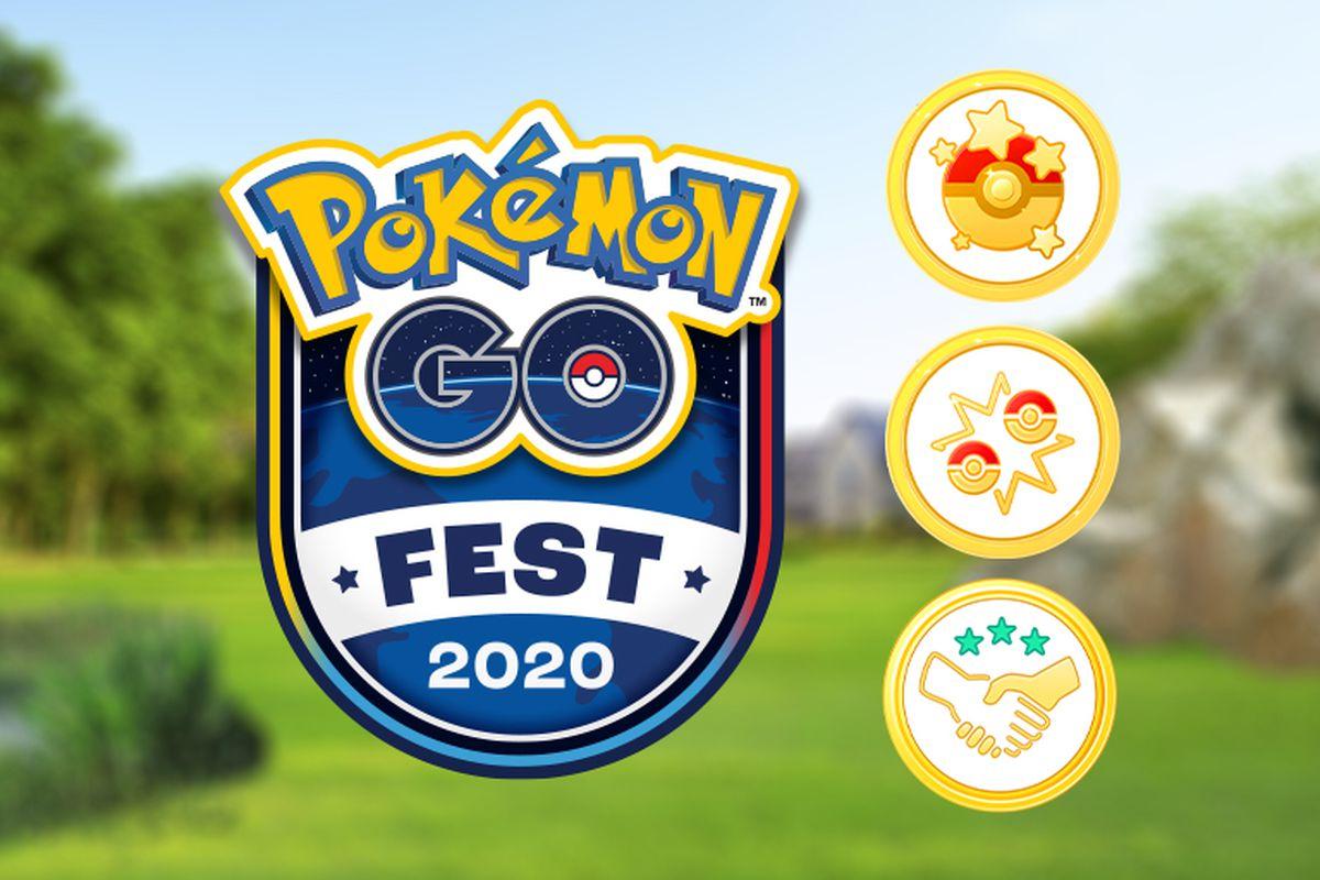 An emblem with the Pokémon Go Fest 2020 logo, as well as three golden Pokémon Go badges