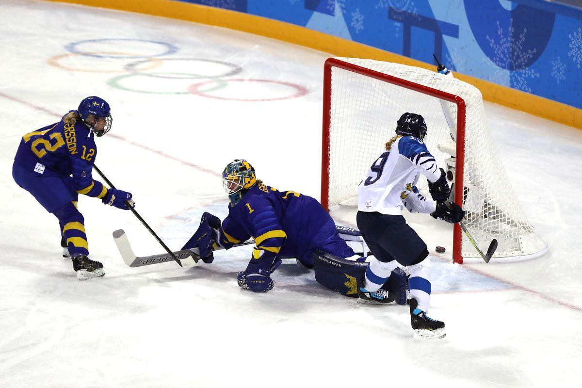 Petra Nieminen #19 of Finland scores a goal against Sara Grahn #1 of Sweden