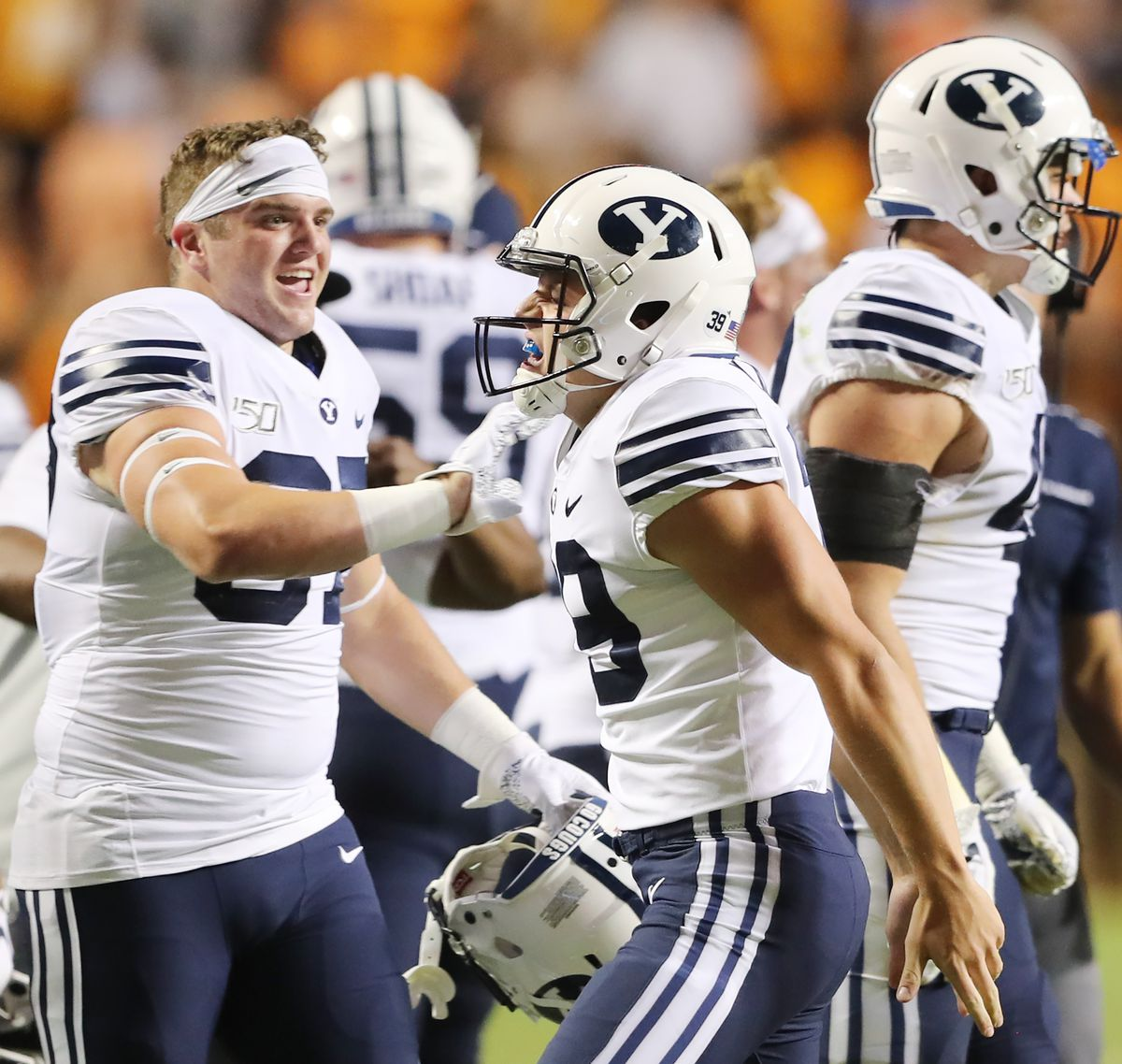 BYU kicker Jake Oldroyd (39) celebrates hitting the game-tying field goal at the end of regulation time, forcing overtime as BYU and Tennessee play a game in Knoxville, Tennessee, on Saturday, Sept. 7, 2019. BYU went on to win 29-26 in double overtime.