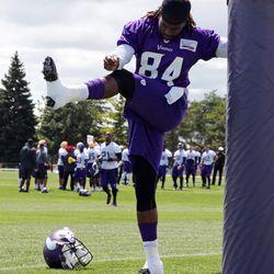 Jul 26, 2013; Mankato, MN, USA; Minnesota Vikings wide receiver Cordarrelle Patterson (84) stretches during training camp at Minnesota State University. Mandatory Credit: Brace Hemmelgarn-USA TODAY Sports