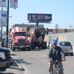 3:49 p.m Concrete trucks passing one another on Clark Street -