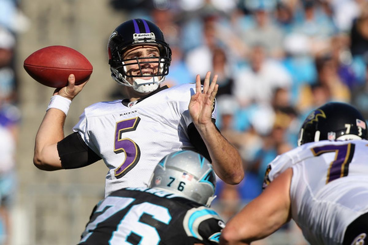 CHARLOTTE NC - NOVEMBER 21:  Joe Flacco #5 of the Baltimore Ravens drops back to pass against the Carolina Panthers at Bank of America Stadium on November 21 2010 in Charlotte North Carolina.  (Photo by Streeter Lecka/Getty Images)