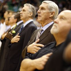 Utah Jazz coach Jerry Sloan listens to the national anthem with his team as the Utah Jazz host the Portland Trail Blazers at Energy Solutions Arena in Salt Lake City Nov. 5, 2008.