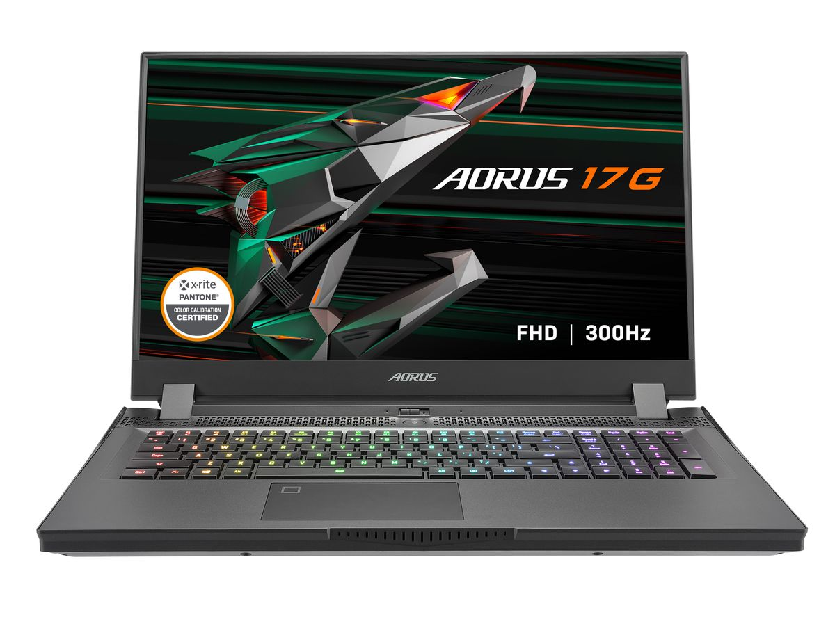 The Aorus 17G open on a white background with the RGB keyboard illuminated. The screen displays the Aorus 17G logo, an Xrite Pantone Certified badge in the bottom left corner, and an FHD 300Hz label in the bottom right corner.