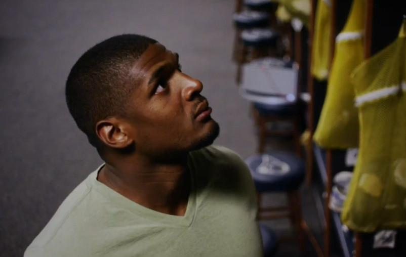 Michael Sam in the St. Louis locker room during ESPN's powerful ESPYs package.