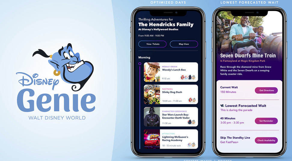 disney genie app home screen and reservations options screencap