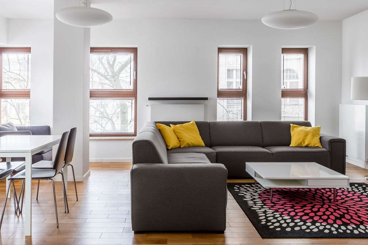 A stock photo of the interior of a modern, open plan apartment with high ceilings, four windows on one wall and a fifth on another, wood floors. The kitchen is along part of one wall, and furniture is arranged to create separate dining and living areas in the same room.