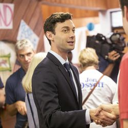 Jon Ossoff, candidate for congress in Georgia's sixth congressional district, meets with his supporters and volunteers at the Sandy Springs Canvass Launch for his final day on the campaign trail. Georgia voters steadily streamed into suburban Atlanta polling places Tuesday,  June 20, 2017, set to decide the most expensive House race in U.S. history and put weeks of television ads, phone calls and ringing doorbells behind them. Either Republican Karen Handel will claim a seat that's been in her party's hands since 1979 or Democrat Ossoff will manage an upset that will rattle Washington ahead of the 2018 midterm elections.