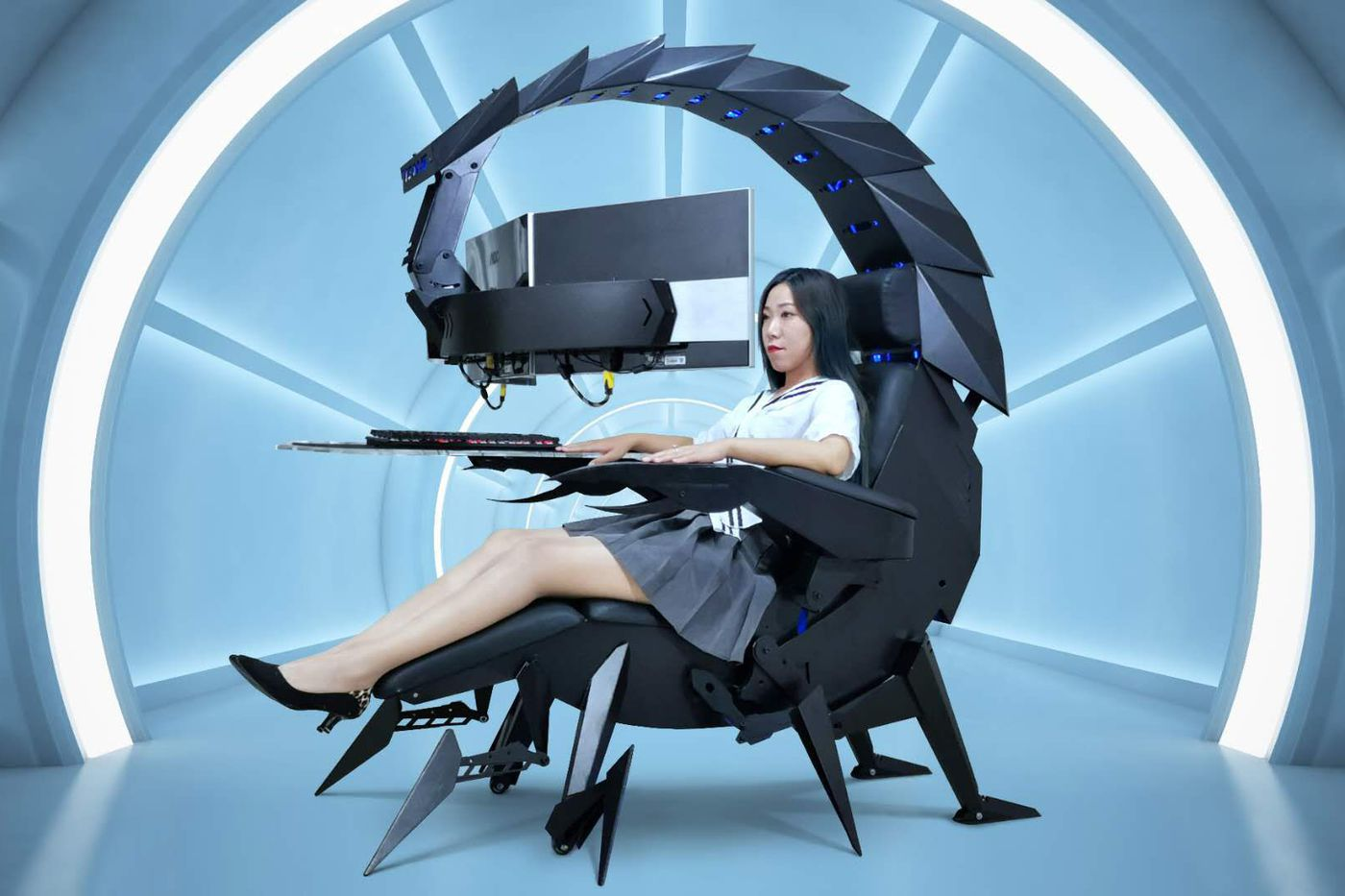 Nothing says 'ready to game' quite like being cocooned in a giant scorpion cockpit - The Verge