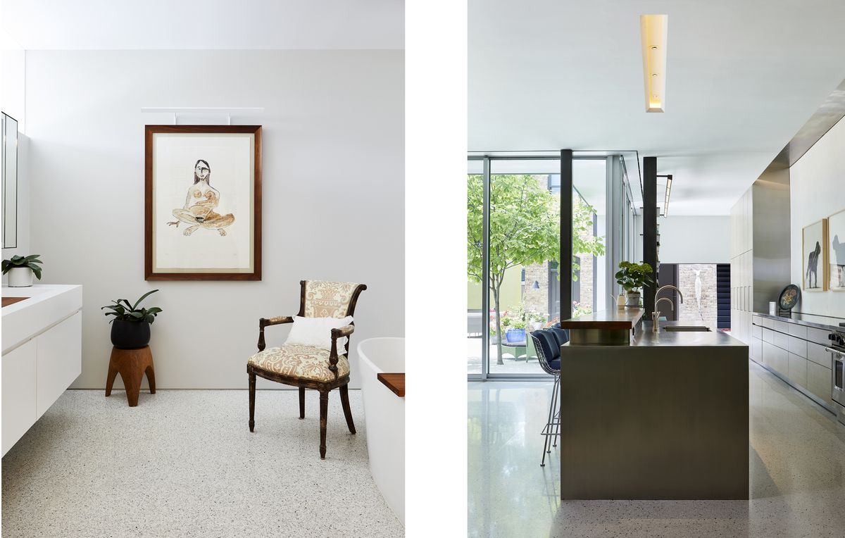 An epoxy terrazzo floor that's white with black specks covers the first floor.
