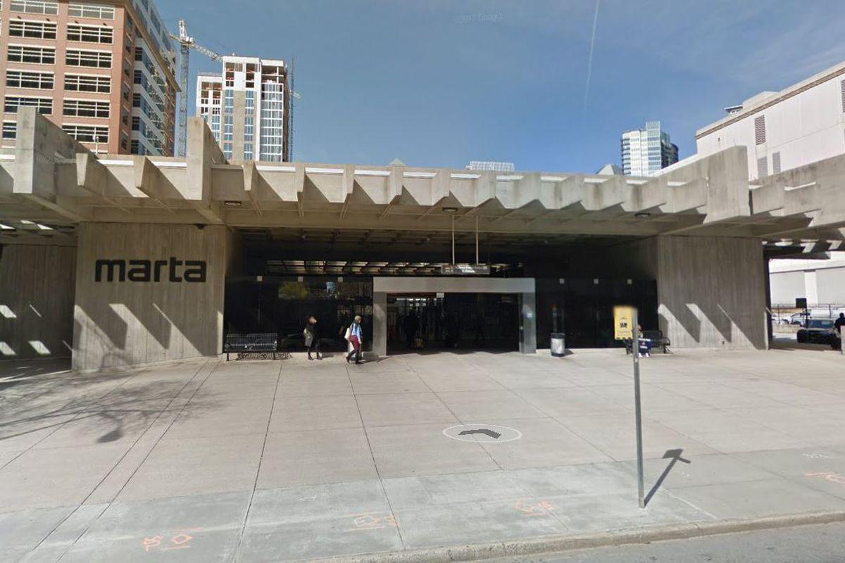 A photo of Midtown's MARTA station in Midtown Atlanta.