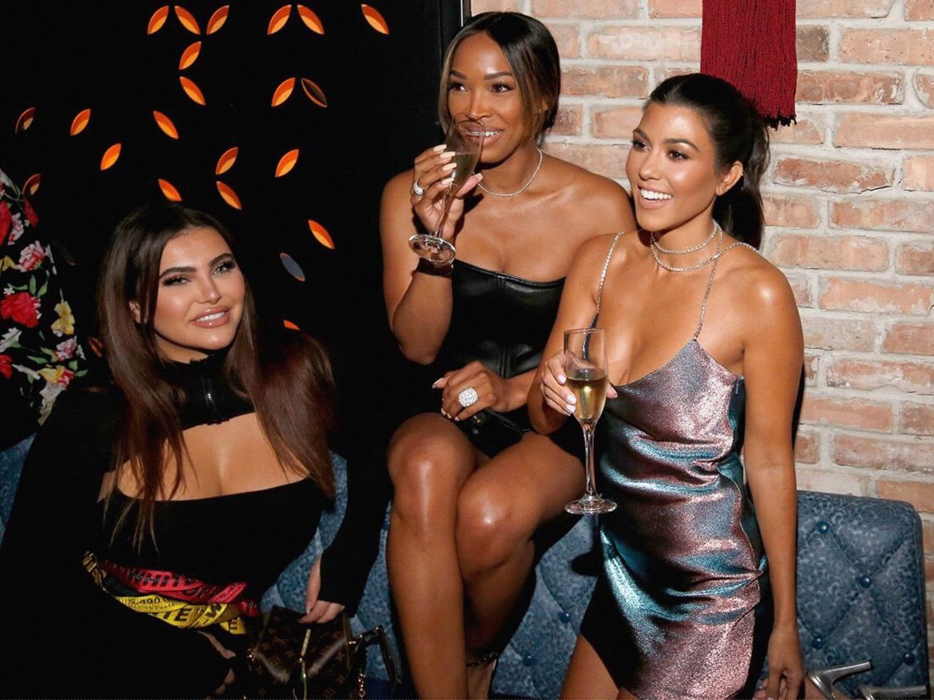 Hrush Achemyan, Malika Haqq and Kourtney Kardashian at TAO Chicago