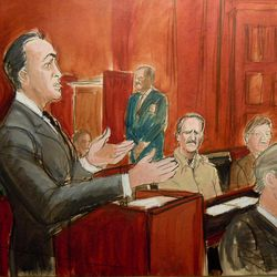 In this courtroom drawing, defense attorney Albert Dayan addresses the court during the sentencing of his client, Viktor Bout, Thursday, April 05, 2012 at the federal courthouse in New York. Bout was sentenced to 25 years in prison for his conviction on terrorism charges that grew from a U.S. sting operation. From left are Albert Dayan at the podium, Viktor Bout is seated at center, next to an unidentified interpreter, and prosecutor Brendan McGuire is seated at right.