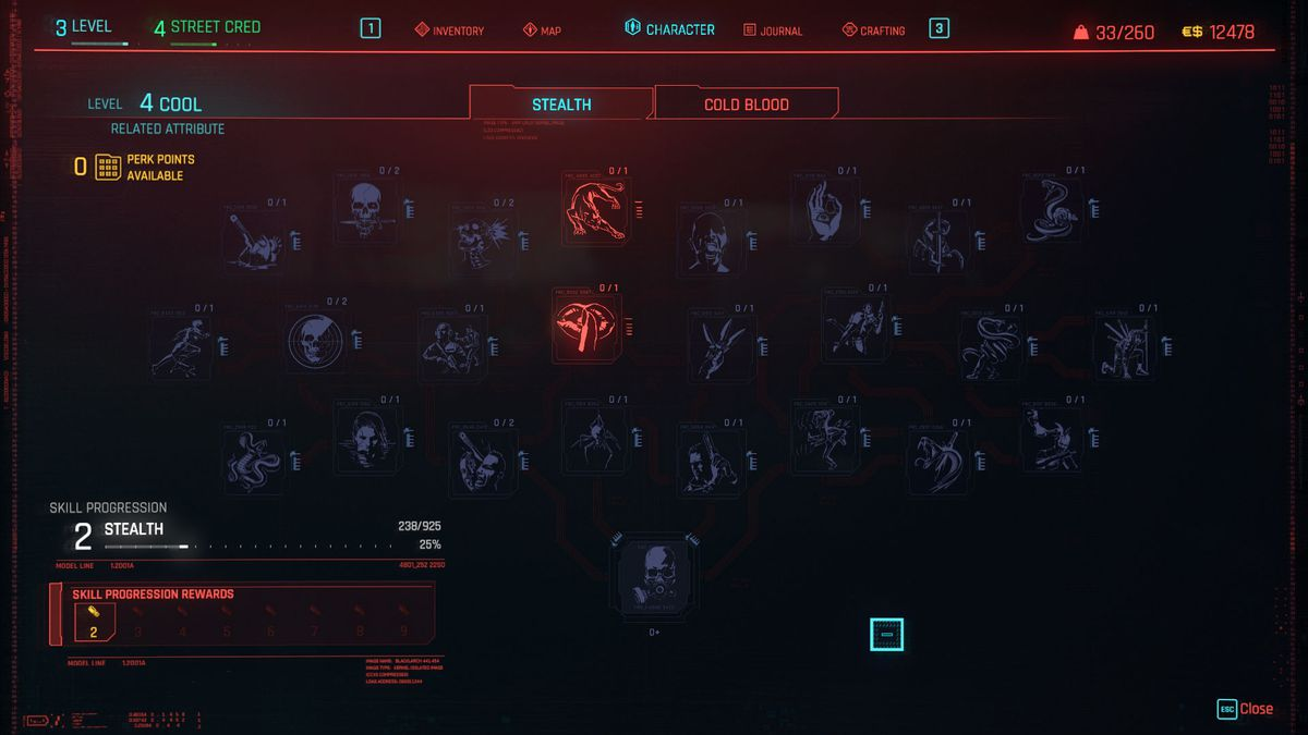 A screenshot of the Perk and Skill trees in Cyberpunk 2077
