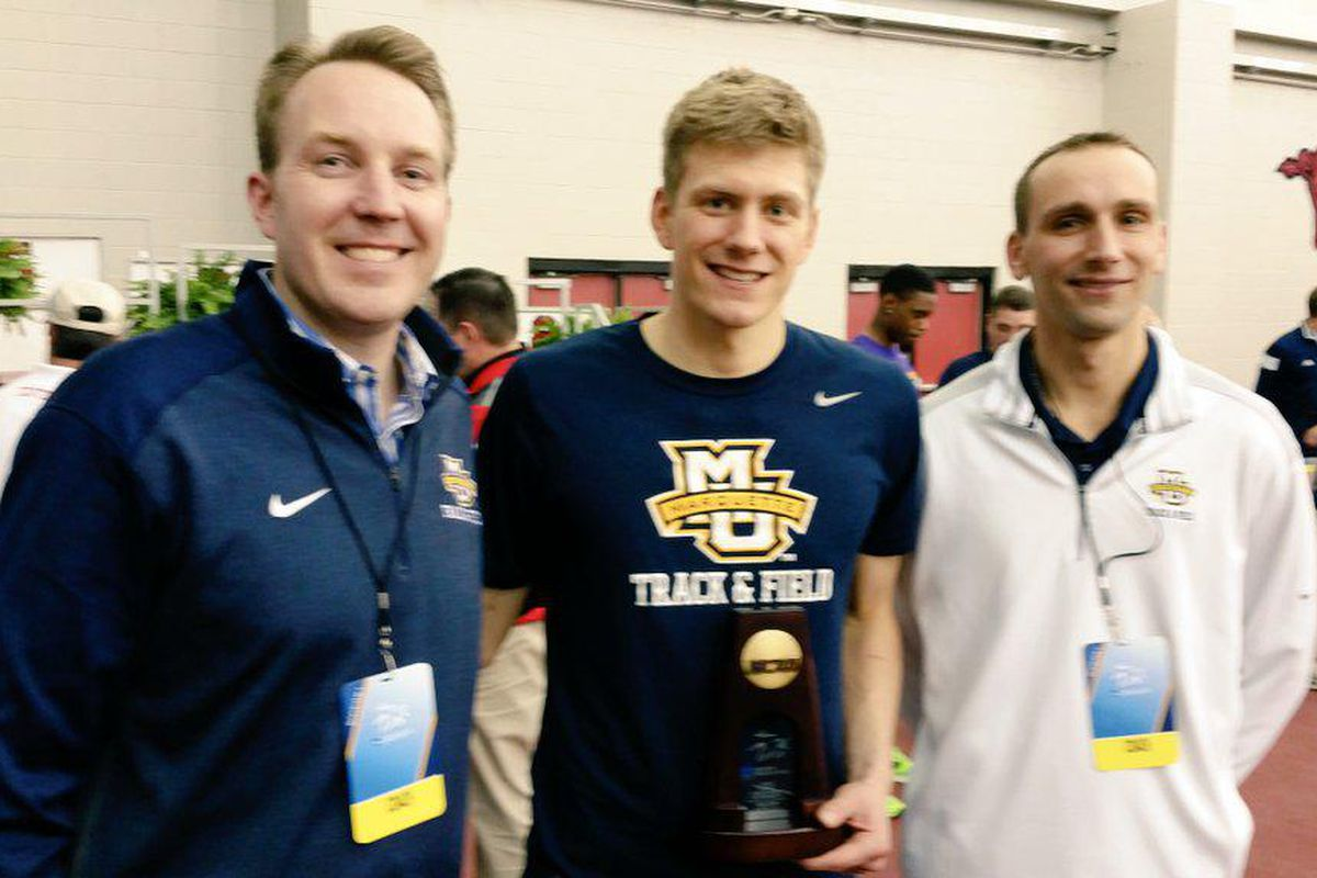 Wally Ellenson along with head coach Bert Rogers (left) and assistant coach Rick Bellford (right)