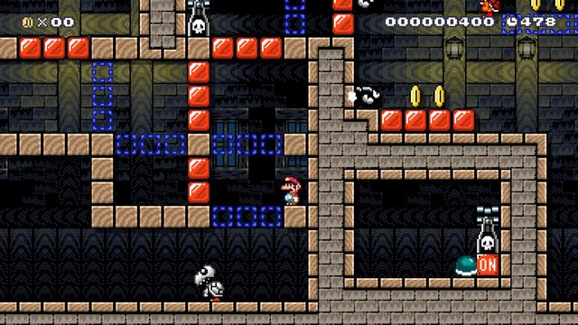 A small Mario in the style of Super Mario World stands in a ghost house level with lots of off/on blocks