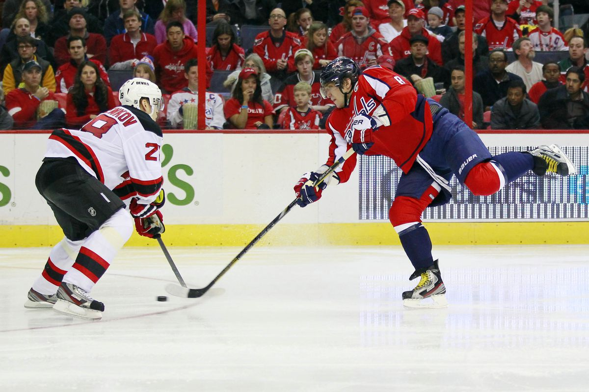 This shot by Alex Ovechkin goes through Anton Volchenkov's legs and past Johan Hedberg, who didn't even see it.