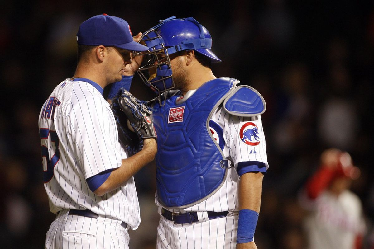 Chicago, IL, USA; Chicago Cubs relief pitcher Scott Maine talks with catcher Geovany Soto against the Philadelphia Phillies at Wrigley Field. Credit: Jerry Lai-US PRESSWIRE