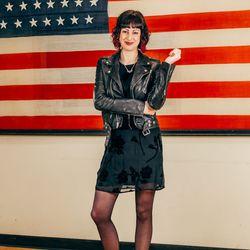 eCommerce Manager Gretchen Jenner is wearing a BLK DNM jacket, vintage dress, and vintage Fluevog boots.