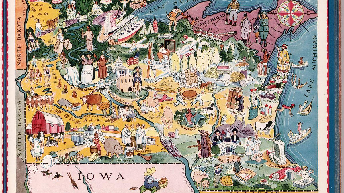 Berta and Elmer Hader's map of Wisconsin.