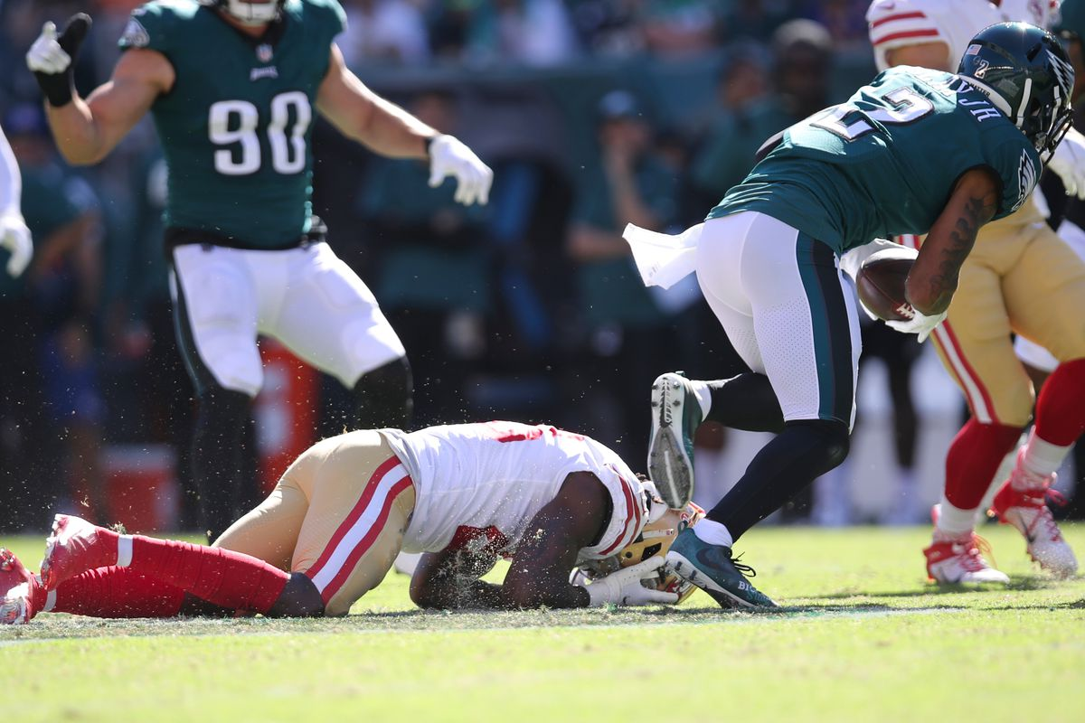 Trey Sermon #28 of the San Francisco 49ers on the ground after getting hit during the game against the Philadelphia Eagles at Lincoln Financial Field on September 19, 2021 in Philadelphia, Pennsylvania.