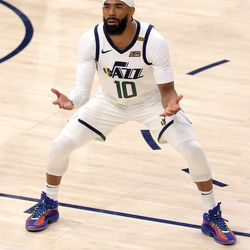 Utah Jazz guard Mike Conley (10) reacts after receiving a foul as the Utah Jazz and the Memphis Grizzlies play in game one of their NBA playoff series at Vivint Arena in Salt Lake City on Sunday, May 23, 2021.