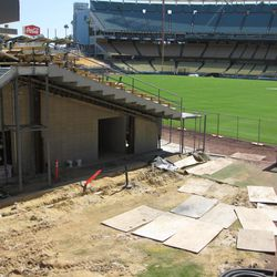 A view of the Dodgers bullpen and left field pavilion amid construction at Dodger Stadium, March 3, 2020