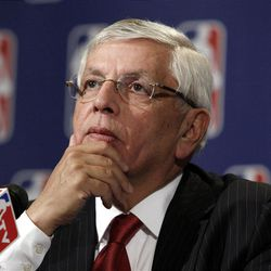 NBA Commissioner David Stern ponders a question at a news conference after the NBA Board of Governors meetings, in New York,  Friday, April 13, 2012.  (AP Photo/Richard Drew)