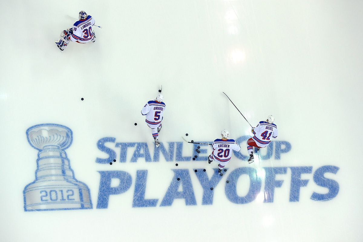 Kreider won't share any pucks with Bickel.  (Photo by Greg Fiume/Getty Images)