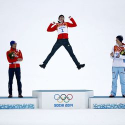 Akito Watabe, left (Japan), Eric Frenzel (Germany) and Magnus Krog (Norway) on the Nordic combined podium