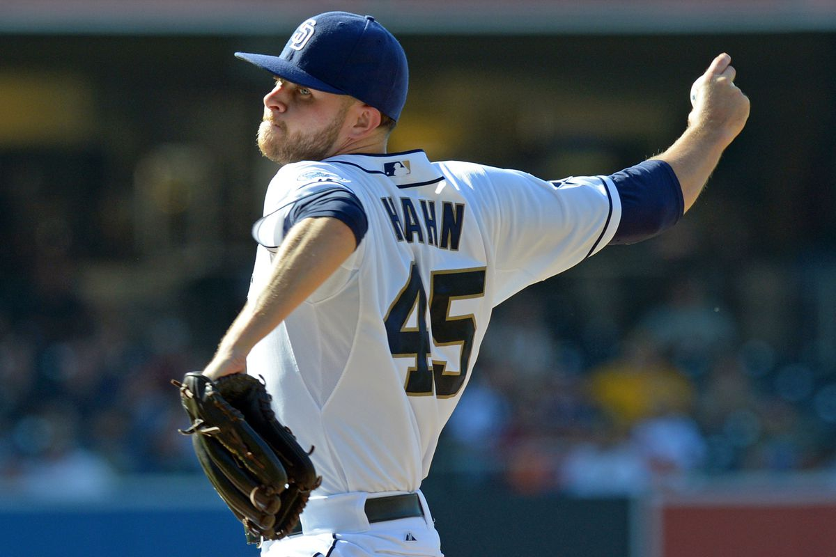 Hahn delivers a pitch against Seattle