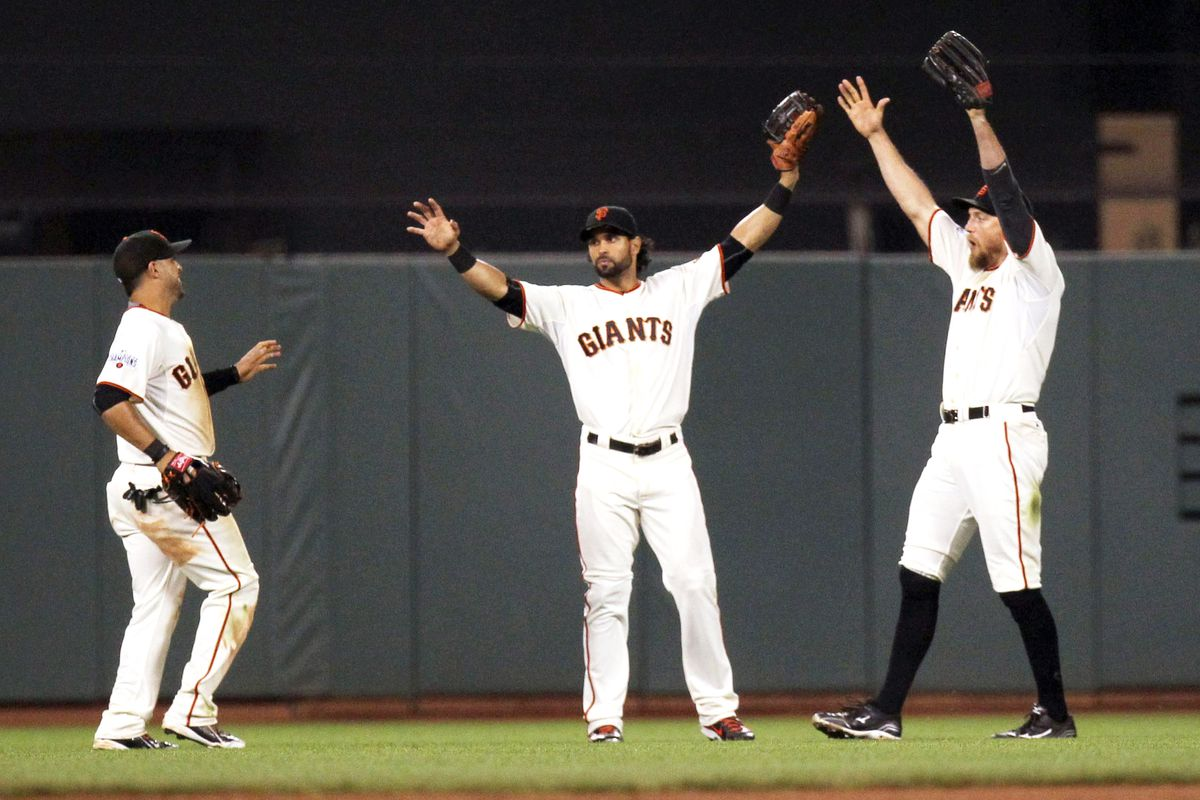 The Giants' presumed outfield alignment for 2016. Gregor Blanco (left) is their Avisail Garcia.