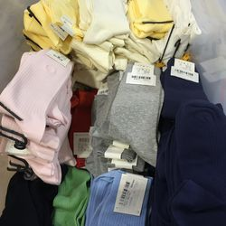 Solid-colored socks, $7 per pair or three for $20