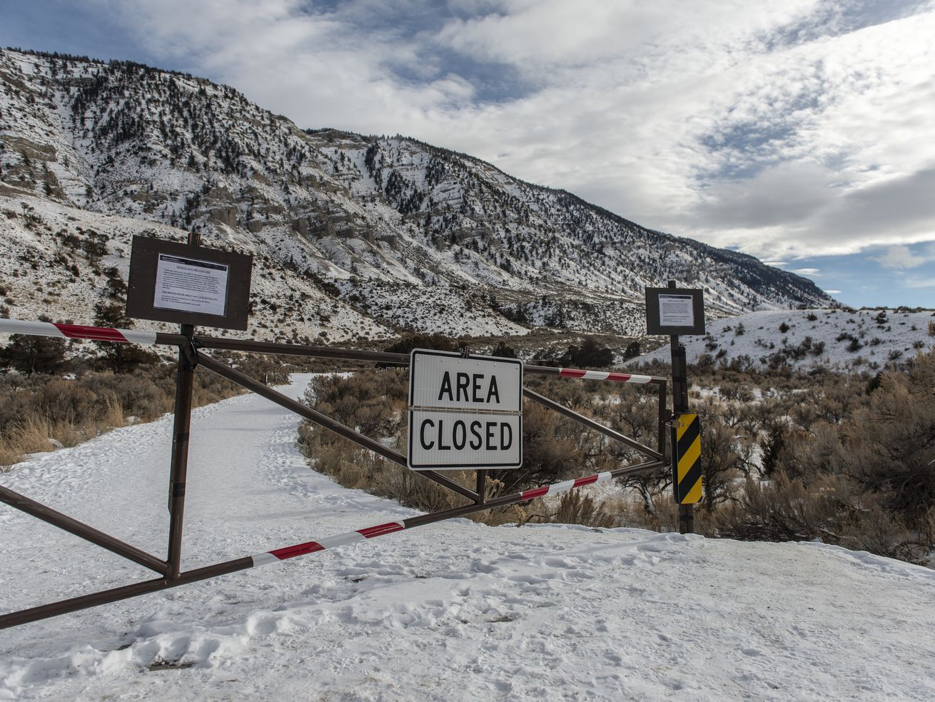 The parking lot at Boiling River is closed on January 3, 2019 in Yellowstone National Park, Wyoming. While visitors can still access the river, many services in Yellowstone National Park have been suspended during the government shutdown.