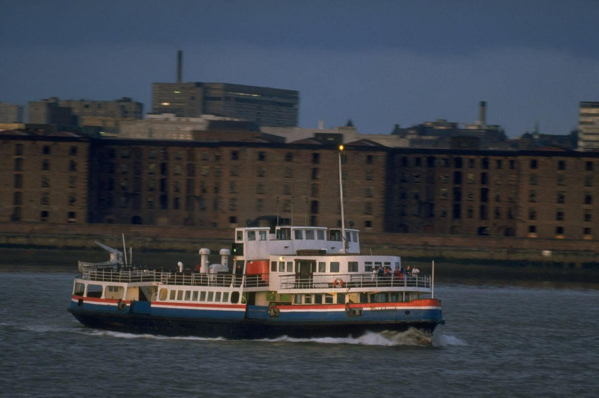 General view of a ferry crossing the Mersey in Liverpool