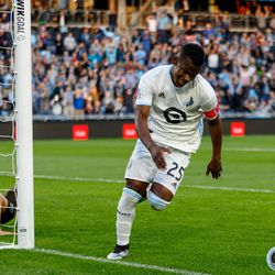 June 12, 2019 - Saint Paul, Minnesota, United States - Minnesota United forward Darwin Quintero (25) cracks a smile after scoring a goal during the US Open Cup match between Minnesota United and Sporting KC at Allianz Field.